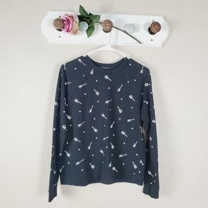 Forever 21 Black and White Guitar Design Sweater